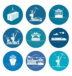 Set of marine freight transportation icons vector