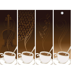 Set of banners on the theme of coffee and music vector
