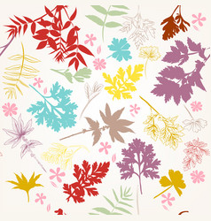 floral pattern with autumn foliage vector image