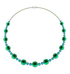 Necklace with green beads icon cartoon style vector