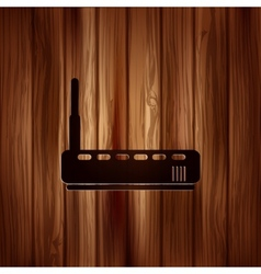 Wi fi router web icon wooden background vector