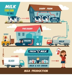 Milk production stages vector