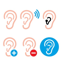 Ear hearing aid deaf person - health problem icon vector