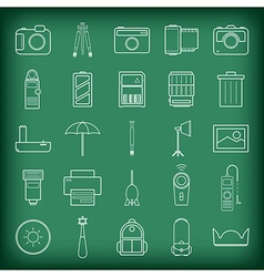 Camera and accessories icons set vector