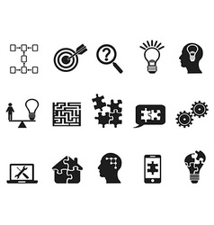 Black solution icons set vector