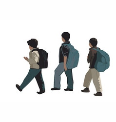 Three school students vector