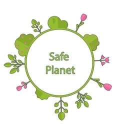 Frame form circle green earth plant flower cry vector