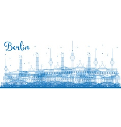 Outline berlin skyline with blue buildings vector