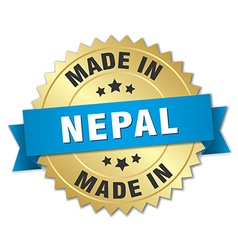 Made in nepal gold badge with blue ribbon vector