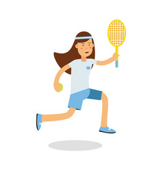 Active girl playing tennis with a racket in her vector