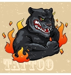 Black Panther Tattoo Design vector image