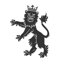 Black standing lion with crown vector