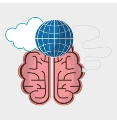 Brain connection globe cloud technology vector