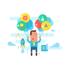 business man fly with balloons concept startup vector image vector image
