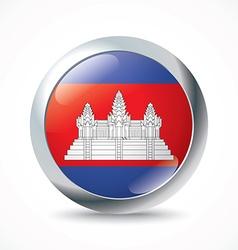Cambodia flag button vector image