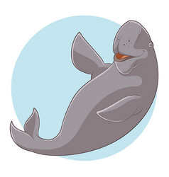 cartoon smiling dugong vector image vector image