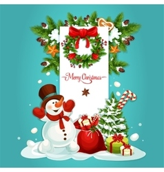 Christmas snowman with gift greeting card design vector image vector image