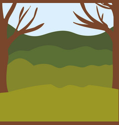 Colorful background with trees and mountains vector