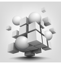 Composition with 3d cubes and spheres vector