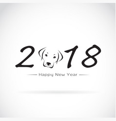 Dog 2018 new year card year of vector
