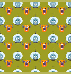 Funny cartoon monster seamless pattern cute alien vector