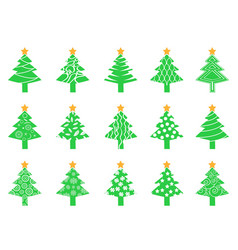 green christmas tree icons set vector image