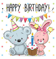 Greeting card rabbit and bear vector