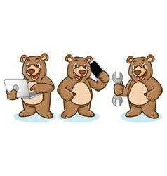 Grizzly bear mascot with laptop vector