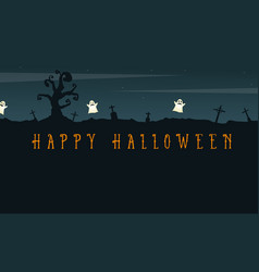 Happy halloween background with graveyard vector