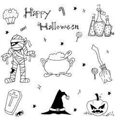 Happy halloween in doodle for kids vector