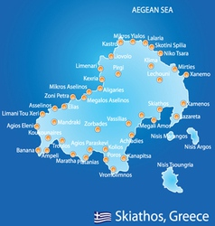 Island of Skiathos in Greece map vector image vector image