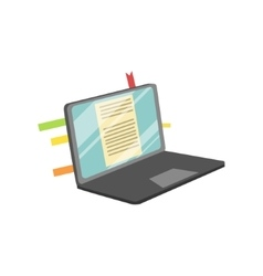 Lap top with post it stickers on screen vector