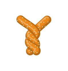 letter y pretzel snack font symbol food alphabet vector image