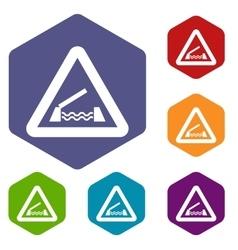 Lifting bridge warning sign icons set vector