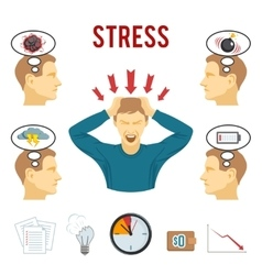 Mental disorder and stress icons set vector