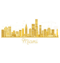 miami usa city skyline golden silhouette vector image