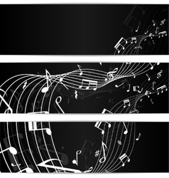 Music notes black banners vector