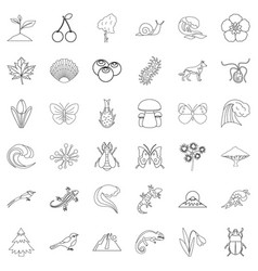 Nature reliability icons set outline style vector