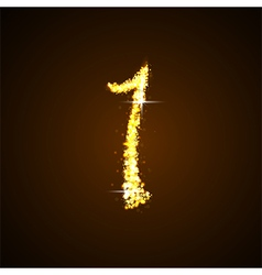 Number one of gold glittering stars vector image