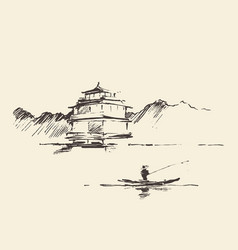 Oriental landscape pagoda lake drawn sketch vector