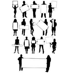People holding signs vector