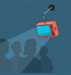 people watch tv and propaganda vector image