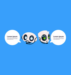 Robot chatter bot or chatbot on blue background vector