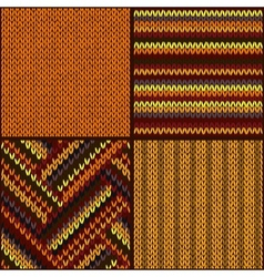 Seamless Knitted Pattern Set vector image vector image