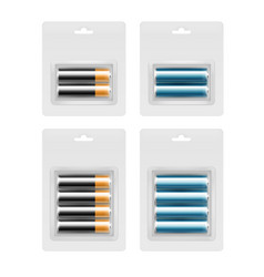 set of batteries in transparent blister packed vector image vector image