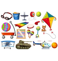 Set of toys and transportations vector