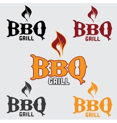 Set of western bbq design template vector