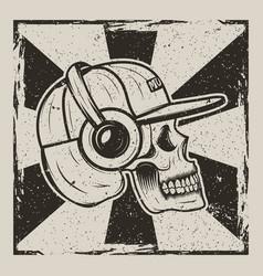 Skull music side view vintage grunge design vector