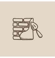 Spatula with brickwall sketch icon vector