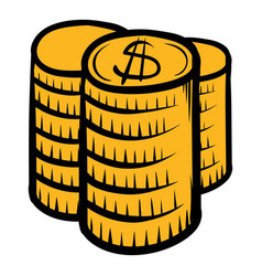 stack of coins icon cartoon vector image vector image